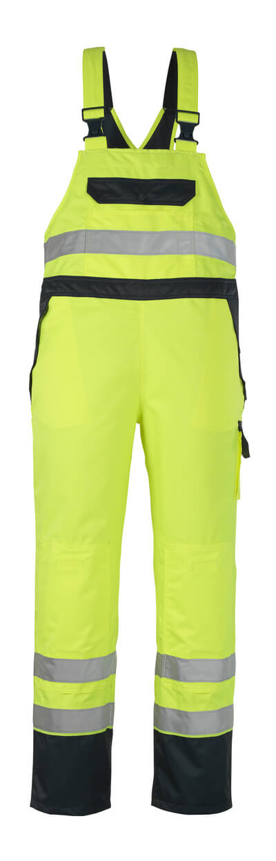 07092-880-171 Bib & Brace Over Trousers with kneepad pockets - hi-vis yellow/navy
