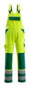 07169-470-1703 Bib & Brace with kneepad pockets - hi-vis yellow/green