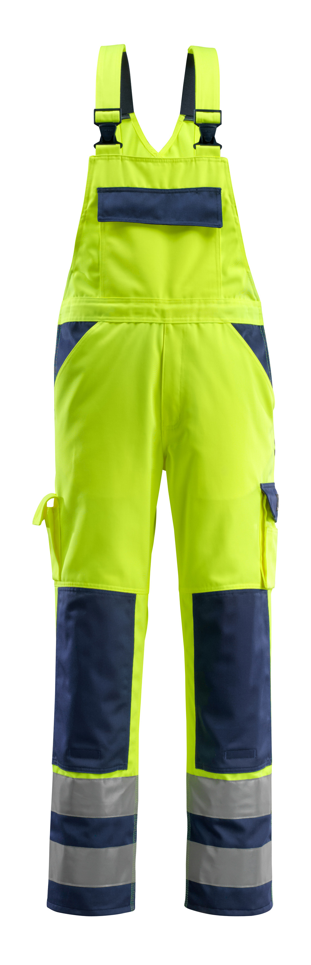 07169-470-171 Bib & Brace with kneepad pockets - hi-vis yellow/navy