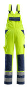 07169-470-171 Bib & Brace with kneepad pockets - hi-vis yellow/navy