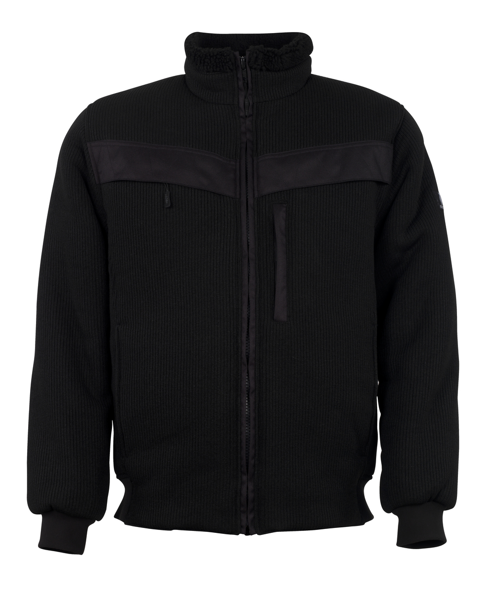 11043-600-09 Knitted Jacket with zipper - black