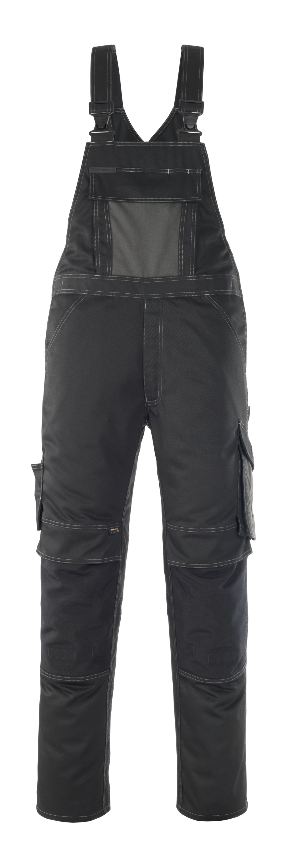 12069-203-0918 Bib & Brace with kneepad pockets - black/dark anthracite
