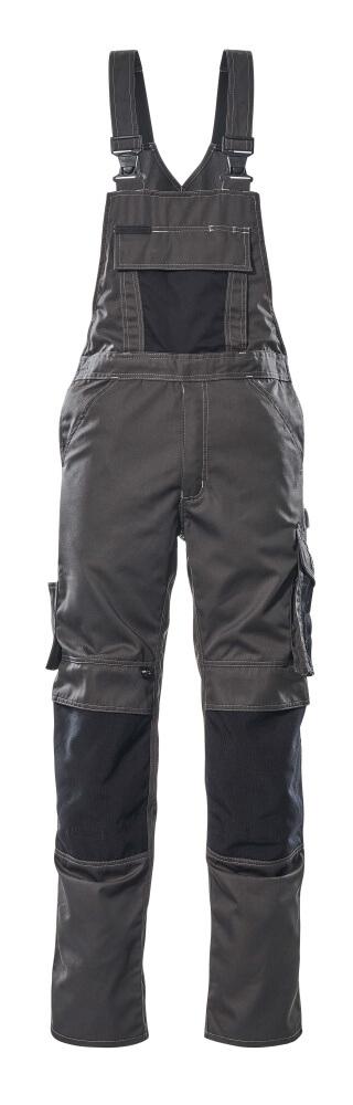 12169-442-1809 Bib & Brace with kneepad pockets - dark anthracite/black