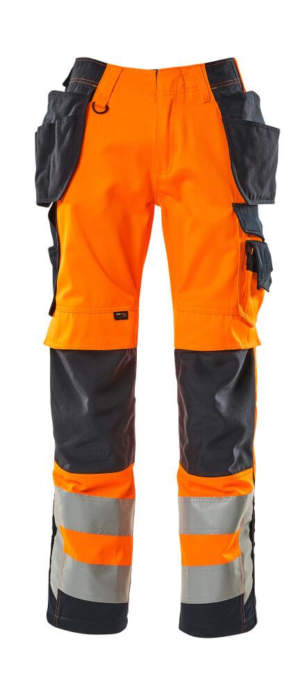 15531-860-14010 Trousers with holster pockets - hi-vis orange/dark navy