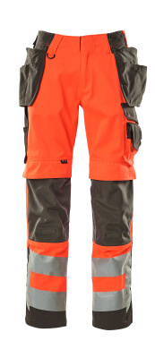 15531-860-14010 Trousers with kneepad pockets and holster pockets - hi-vis orange/dark navy