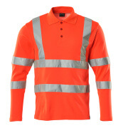 18283-995-14 Polo Shirt, long-sleeved - hi-vis orange