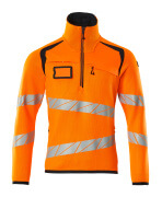 19005-351-14010 Knitted Jumper with half zip - hi-vis orange/dark navy