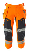 19049-711-14010 ¾ Length Trousers with holster pockets - hi-vis orange/dark navy