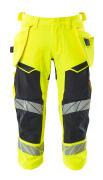 19049-711-14010 ¾ Length Trousers with holster pockets - hi-vis orange/dark navy