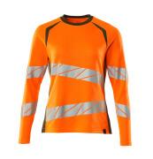 19091-771-1433 T-shirt, long-sleeved - hi-vis orange/moss green