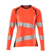 19091-771-22210 T-shirt, long-sleeved - hi-vis red/dark navy
