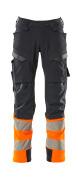 19179-511-01014 Trousers with kneepad pockets - dark navy/hi-vis orange