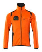19403-316-14010 Fleece Jumper with zipper - hi-vis orange/dark navy