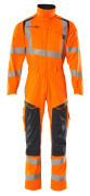 19519-236-14010 Boilersuit with kneepad pockets - hi-vis orange/dark navy