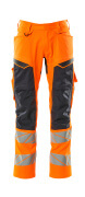 19579-236-14010 Trousers with kneepad pockets - hi-vis orange/dark navy