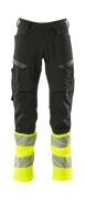 19879-711-01017 Trousers with kneepad pockets - dark navy/hi-vis yellow