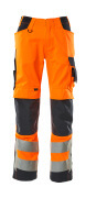 20879-236-14010 Trousers with kneepad pockets - hi-vis orange/dark navy