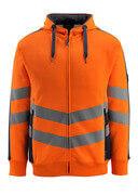 50138-932-14010 Hoodie with zipper - hi-vis orange/dark navy