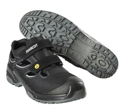 F0100-910-09880 Safety Sandal - Black/Silver